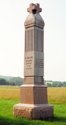 6th Maine Infantry Monument, Battle of Gettysburg