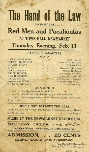 Unkn year, playbill, local players at the Town Hall   Mew